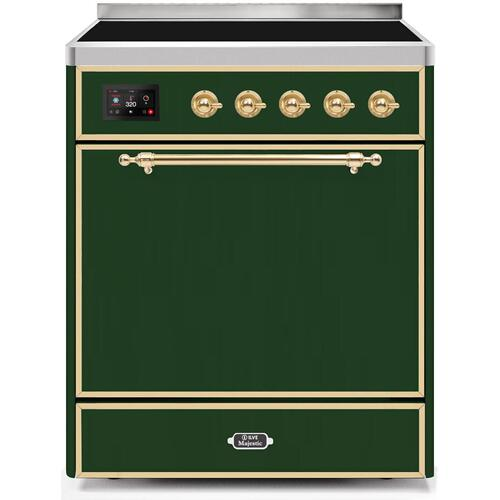 Ilve - Majestic II 30 Inch Electric Freestanding Range in Emerald Green with Brass Trim