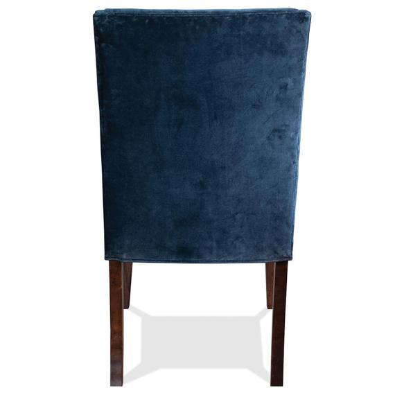 Riverside - Mix-n-match Chairs - Navy Velvet Side Chair - Hazelnut Finish