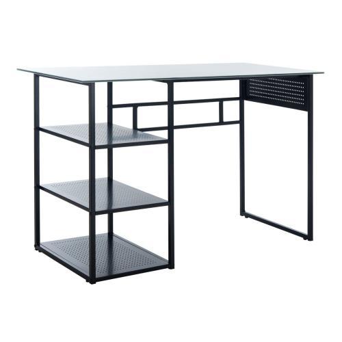 Xyla 3 Shelf Glass Top Desk - White / Black