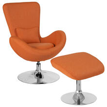 Egg Series Orange Fabric Side Reception Chair with Ottoman