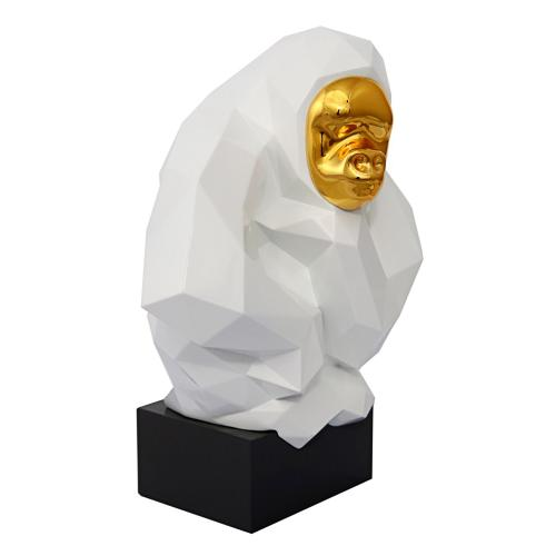 Tov Furniture - Pondering Ape Sculpture - White and Gold