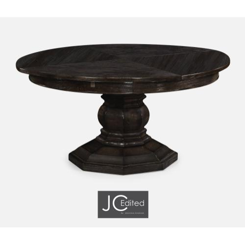 """59"""" Dark Ale Circular Dining Table with Self-Storing Leaves"""