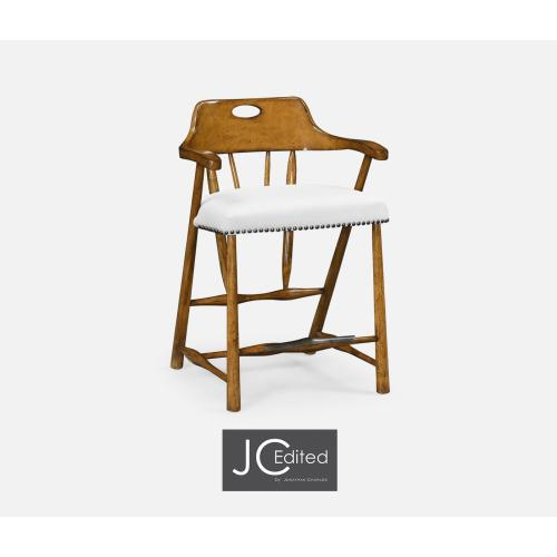 Smokers Style Country Walnut Counter Stool, Upholstered in COM