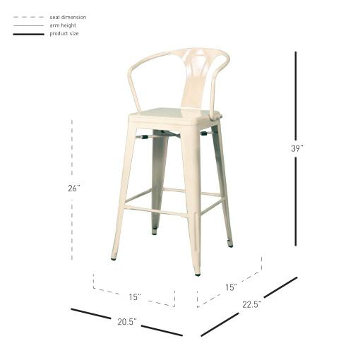 Metropolis Metal Counter Stool, White