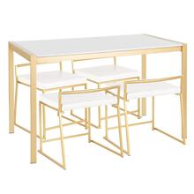 See Details - Fuji Dinette Set - Gold Metal, White Marble, White Pu
