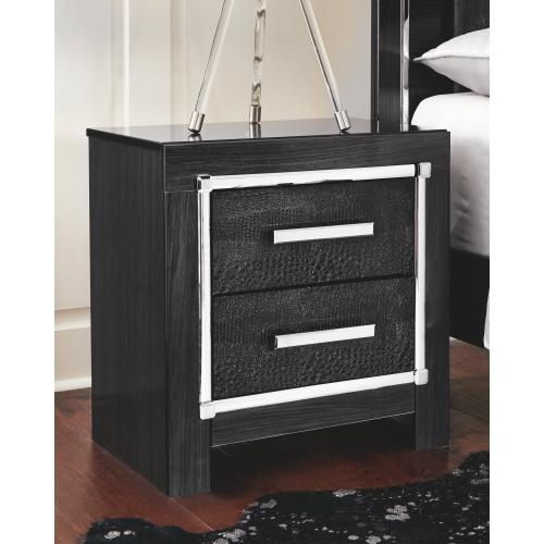 King Panel Bed With Storage With Mirrored Dresser and 2 Nightstands