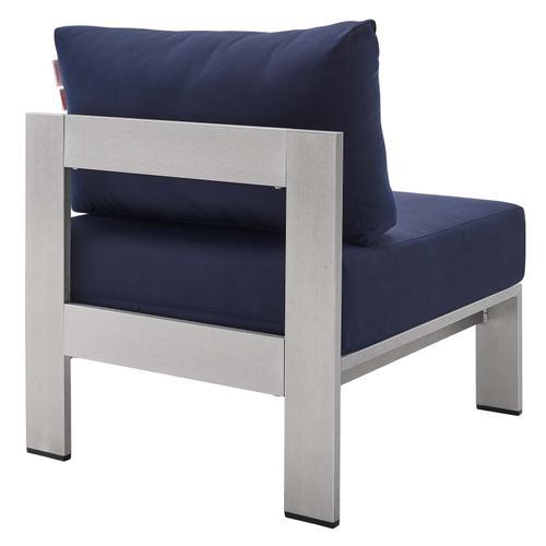 Shore Sunbrella® Fabric Aluminum Outdoor Patio Armless Chair in Silver Navy
