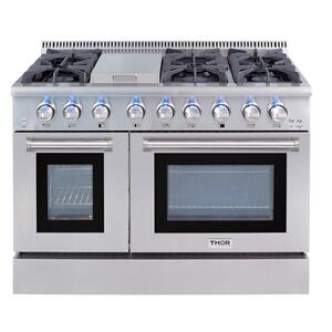 Thor Kitchen48 Inch Professional Dual Fuel Range In Stainless Steel