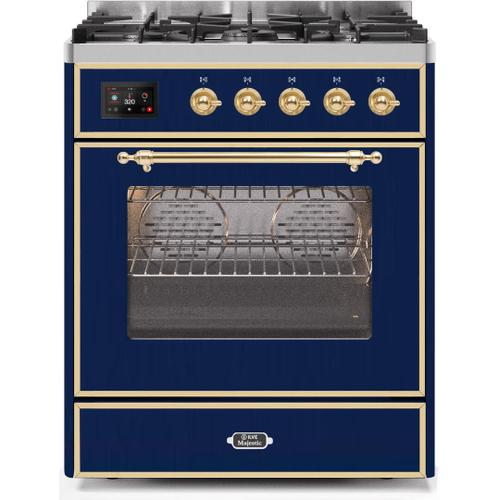 Majestic II 30 Inch Dual Fuel Natural Gas Freestanding Range in Blue with Brass Trim