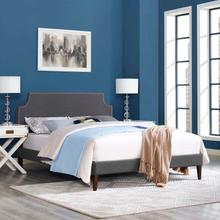 View Product - Corene Queen Fabric Platform Bed with Squared Tapered Legs in Gray