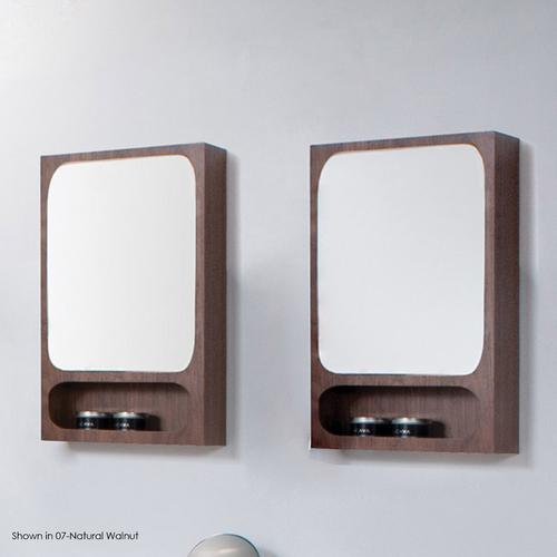 """Surface-mount medicine cabinet with two adjustable glass shelves behind mirroreddoor, and one open cubby, touch latch hardware. 19""""W, 5""""D, 32""""H"""