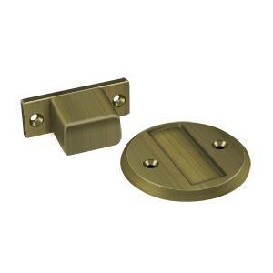 """Deltana - Magnetic Door Holder Flush 2-1/2"""" Diameter - Antique Brass"""