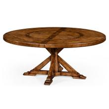 Country style walnut round dining table (inbuilt lazy susan)