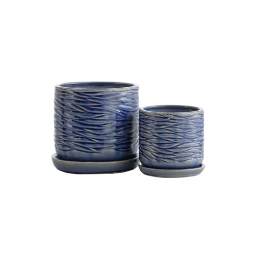 Blue Minnows Petits Pots w/ attached saucer, Set of 2