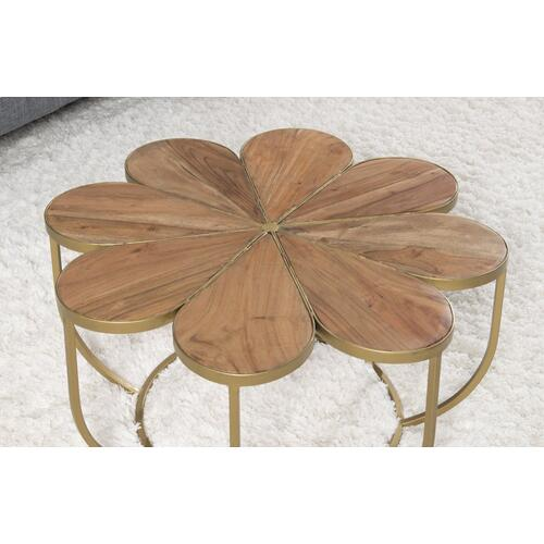 Iron Frame and Flower-like Wood Top Accent Table, Natural and Gold