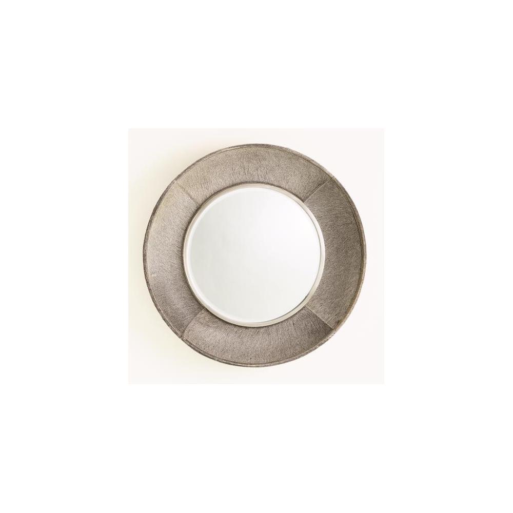 Metro Round Mirror-Grey Hair-on-Hide