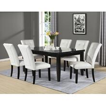 View Product - Markina 7 Piece Rectangular Black Marble Top Set(Table & 6 Side Chairs)