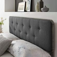 Collins Tufted King Fabric and Wood Headboard in Gray Charcoal