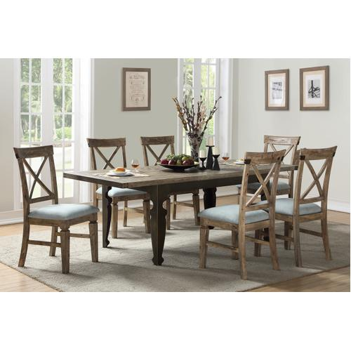 "Emerald Home Valencia Extension Dining Table W/24"" Leaf-natural Reclaimed Pine Finish With Black Legs D559-10"