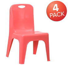 4 Pack Red Plastic Stackable School Chair with Carrying Handle and 11'' Seat Height [4-YU-YCX-011-RED-GG]