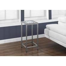 ACCENT TABLE - GREY / BLUE TILE TOP / HAMMERED SILVER