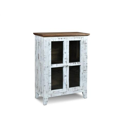 HH-3450-032  Simply Rustic Distresssed White Curio Cabinet  Walnut Top