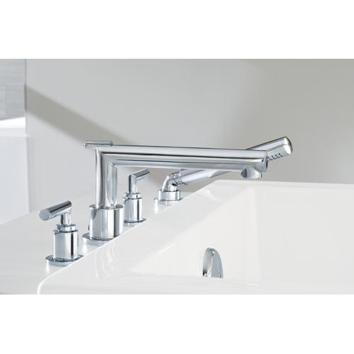 Arris Brushed nickel two-handle diverter roman tub faucet includes hand shower