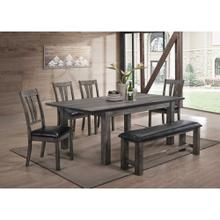 See Details - Hanover Bramble Hill 6-Piece Dining Set with Expandable Table plus 4 Faux-Leather Side Chairs and Bench in Weathered Gray Finish, HDR006-6PU-WG