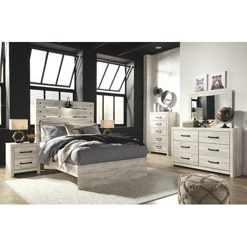 Full Panel Bed With Mirrored Dresser, Chest and 2 Nightstands