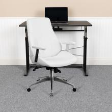 View Product - Mid-Back White LeatherSoft Smooth Upholstered Executive Swivel Office Chair with Arms