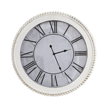 White Round Wall Clock with Wood Beaded Trim