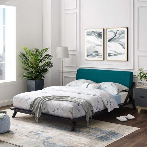 Luella Queen Upholstered Fabric Platform Bed in Cappuccino Teal