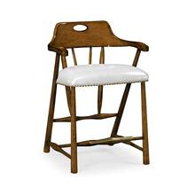 Smokers Style Tudor Oak Counter Stool, Upholstered in COM