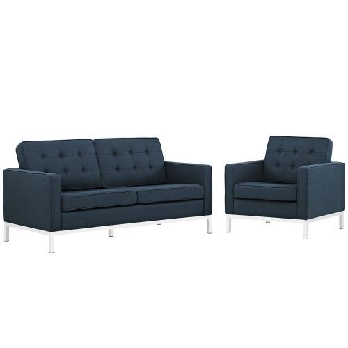 Loft Living Room Set Upholstered Fabric Set of 2 in Azure