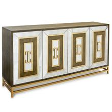 See Details - JAMISON SIDEBOARD  Dark Walnut Finish on Hardwood with Antique Mirror and Antique Brass Metal  4 D