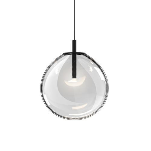Sonneman - A Way of Light - Cantina LED Pendant [Size=Medium, Color/Finish=Satin Black w/Clear Glass]