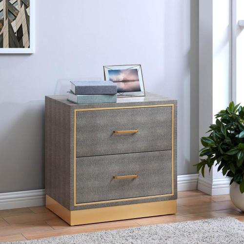 Product Image - Edinburgh Faux Shagreen Side/ End Table 2 drawers, Chronicle Gray/ Gold