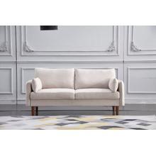 See Details - 8157 BEIGE Linen Stationary Basic Sofa