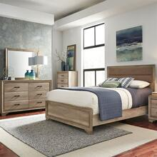 King California Uphosltered Bed, Dresser & Mirror, Chest