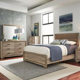 King California Uphosltered Bed, Dresser & Mirror, Chest