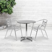 See Details - 27.5'' Round Aluminum Indoor-Outdoor Table Set with 2 Slat Back Chairs