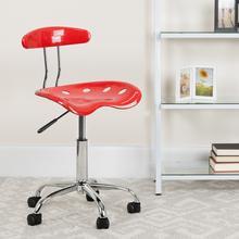 View Product - Vibrant Cherry Tomato and Chrome Swivel Task Office Chair with Tractor Seat