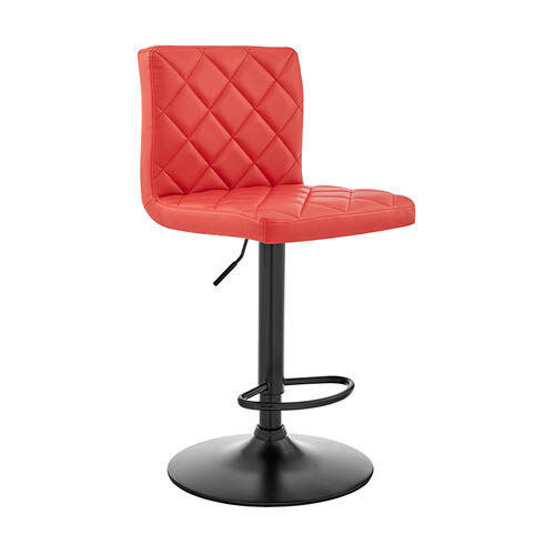 Duval Adjustable Red Faux Leather Swivel Bar Stool