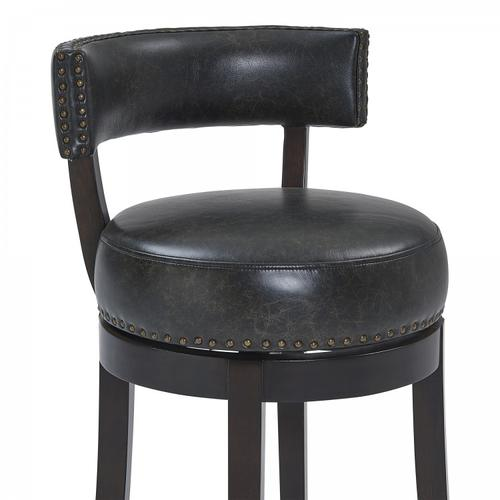 """Armen Living Corbin 30"""" Bar Height Barstool in Espresso Finish and Onyx Faux Leather"""