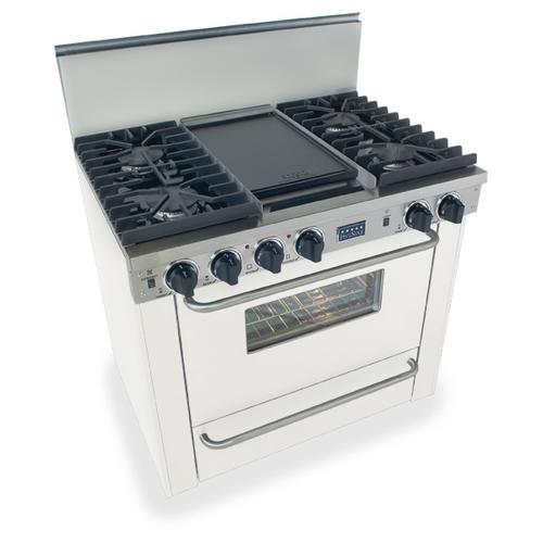 """Five Star - 36"""" All Gas, Convect, Sealed Burners, White"""