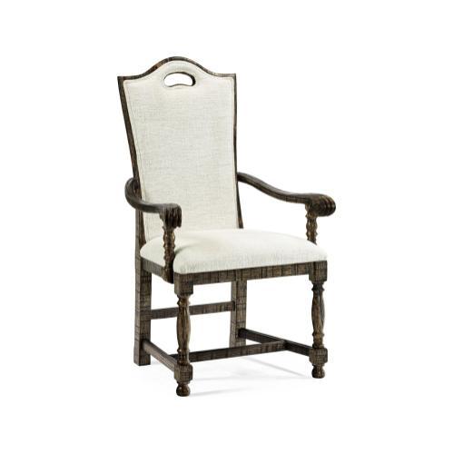 High Back Dark Driftwood Dining Arm Chair, Upholstered in Shambala