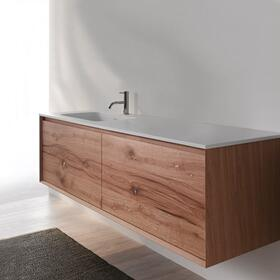 "45° FULL series 1400 vanity, White Matte frame/Distressed Oak front; 55"" w x 19"" h x 20"" d"