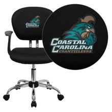 Coastal Carolina University Chanticleers Embroidered Black Mesh Task Chair with Arms and Chrome Base