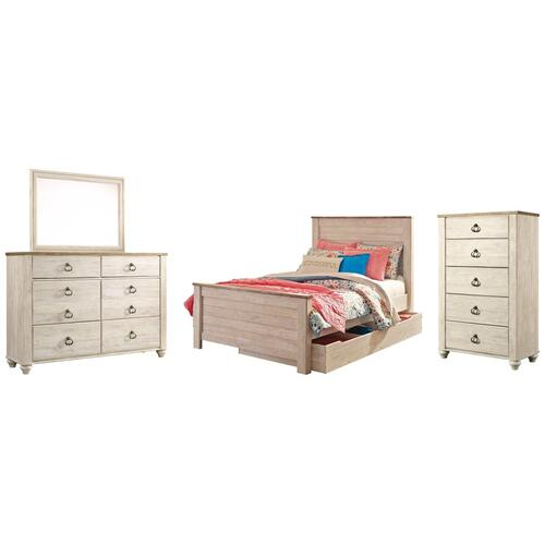 Product Image - Full Panel Bed With 1 Storage Drawer With Mirrored Dresser and Chest