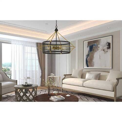 60W X 6 Caserta Metal Chandelier With Mesh Shade (Edison Bulbs Not included)